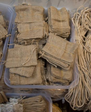 Set of Empty little bags made of linen canvas