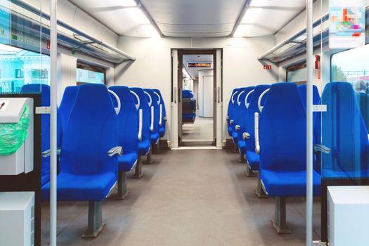 Interior of an empty passenger car commuter train