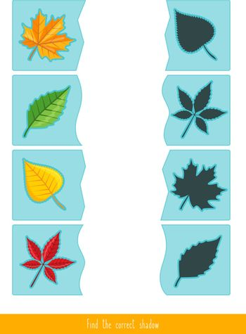 Educational children game, vector. Matching game for kids. Logic activity. Find the correct shadow