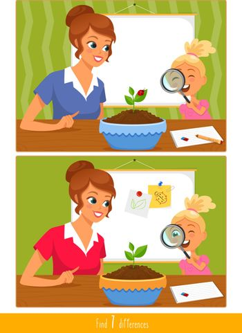 Educational children game, vector. Logic game for kids. Find 7 differences.