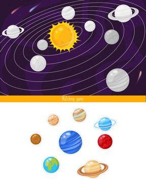 Educational children game, vector illustration.