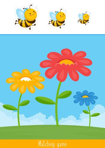 Educational children game, vector. Match by size for kids. Logic activity