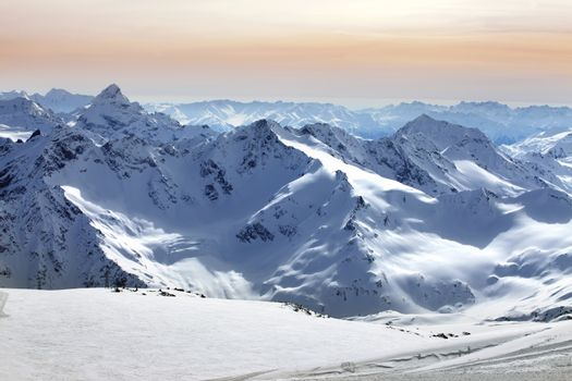 Russia. Caucasus. View on Elbrus Mount - the highest point of Europe