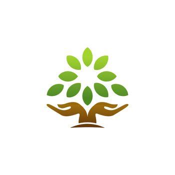 tree hand logo concept hand tree nature wellness health icon symbol vector design illustration