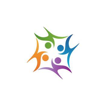 education people teamwork logo symbol icon vector design illustration