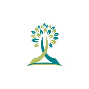 tree cross nature logo religious concept symbol icon vector design illustration