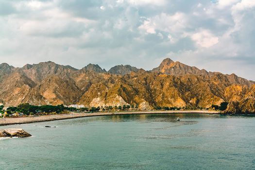 Coast of the Gulf of Oman near Muscat, view from the sea