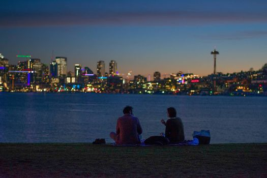 Romantic picnic date night with Skyline View of the seattle cityscape