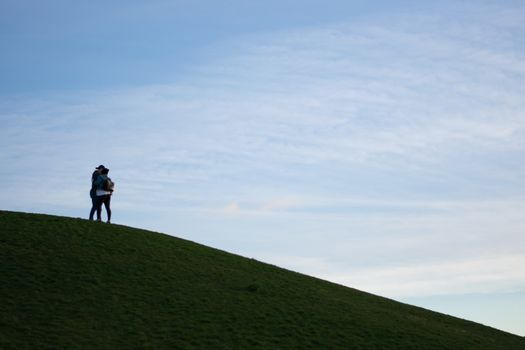 Couple hugging on top of a grassy hill with blue cloudy background