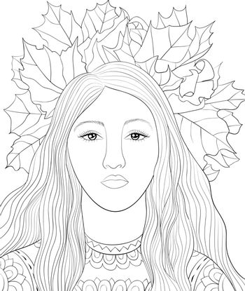 A cute girl with long hair wearing a crown of leaves on the head image for relaxing activity.A coloring book,page for adults.Zen art style illustration for print.