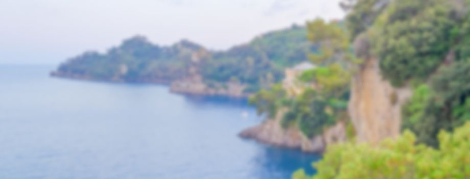Defocused background of Portofino in Liguria, Italy. Intentionally blurred post production for bokeh effect