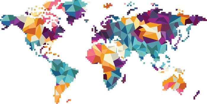 world region map globe vector