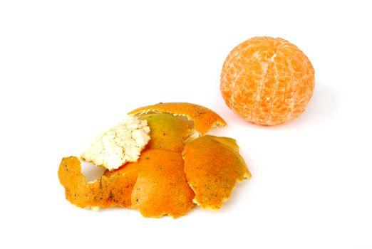 Orange peel on white background.