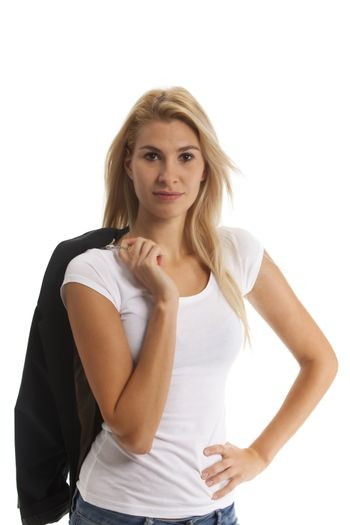 attractive young blonde woman on white background