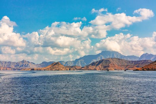 Sea and rocky shores in the fjords of the Gulf of Oman, panoramic view
