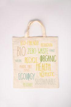 Zero waste concept. Eco-friendly cotton bag, flat lay