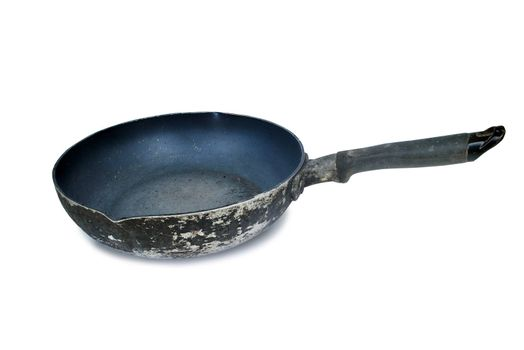 The pan has a handle with a handle.Old condition deteriorated on white background.(with Clipping Path).;