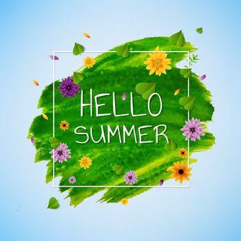 Hello Summer Banner With Flower