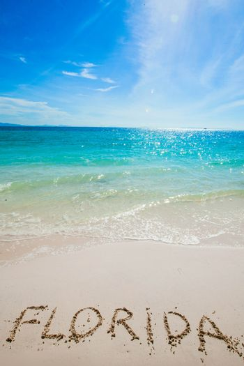 """Turquoise water and golden sand with """" florida """" written on it"""