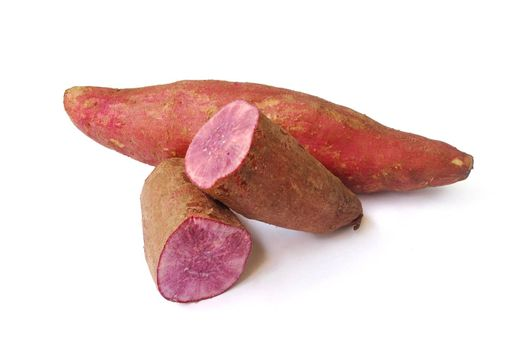 Purple yam head on white background.(with Clipping Path).