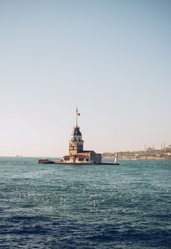 Maidens Tower located in the middle of Bosporus