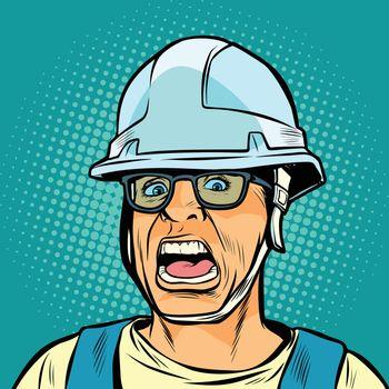 worker in a helmet screaming. danger of fright