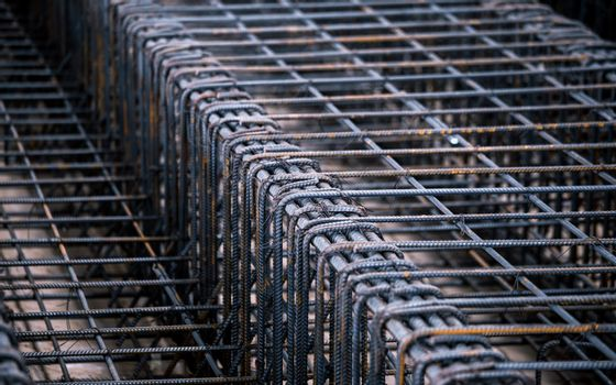 steel rebar component in construction site