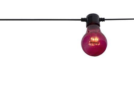 Red color lightbulb on string