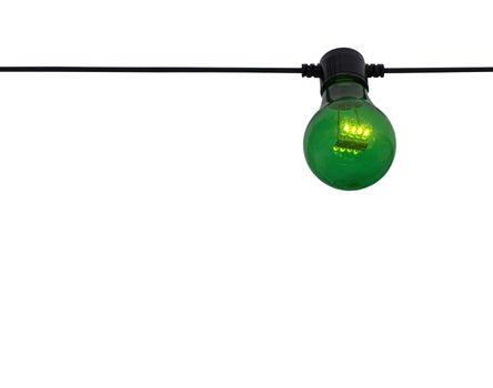 Green color lightbulb on string
