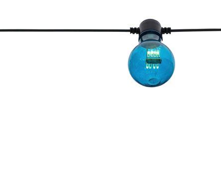 Blue color lightbulb on string