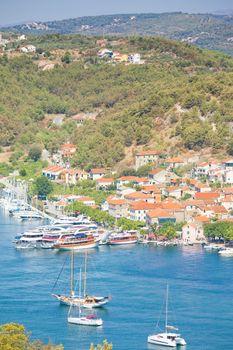 Skradin, Croatia, Europe - Sailing ships at the harbor of Skradin