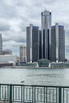 Building off corporation near river Detroit_