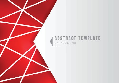 Template abstract white geometric shape polygons with lines composition on red background. Vector illustration