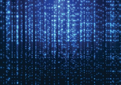 Abstract matrix technology blue magic sparkling glitter particles lines on dark background. Vector illustration