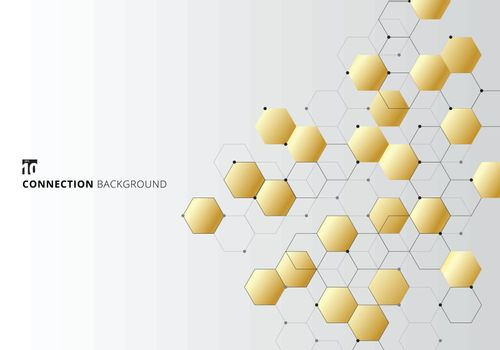 Abstract gold hexagons with nodes digital geometric with black lines and dots on white background. Technology connection concept. Vector illustration