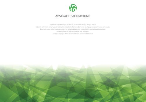 Abstract green polygonal overlapping on white background with copy space. Geometric triangles modern style. Vector illustration