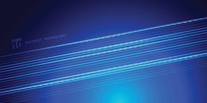 Abstract striped bright blue glowing lines on dark background technology style. Space for text. Vector illustration