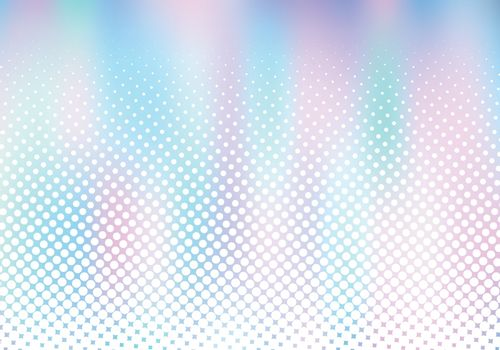 Abstract smoot blurred holographic gradient background with white halftone effect. Hologram  Luxury trendy tender pearlescent. Vector illustration