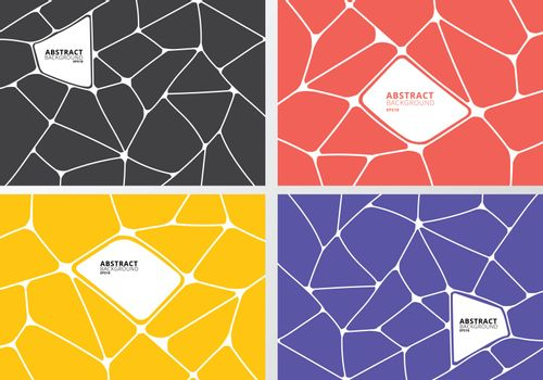 Set of abstract gray, orange, yellow, purple geometric voronoi background. Polygonal Mosaic collection. Vector illustration