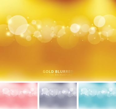Set of abstract gold, pink, gray, blue color blurred background with circles bokeh and sparkle. Copy space. Vector illustration