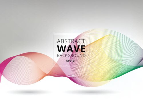 Abstract smooth waves lines colorful on white background. Liquid shape motion curve rainbow line. Vector illustration
