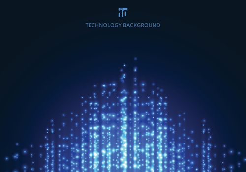 Abstract technology blue magic sparkling glitter particles lines on dark background. Vector illustration