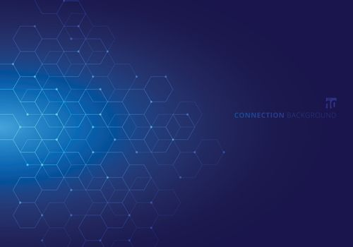 Abstract hexagons with nodes digital geometric with lines and dots on blue background. Technology connection concept
