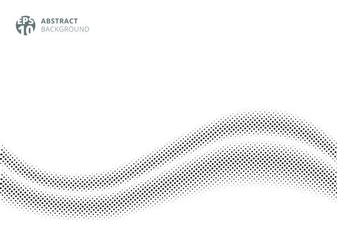 Abstract wave silk satin on white background halftone style for design. dots pattern. Vector illustration