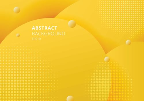 Abstract 3D liquid fluid circles yellow mustard pastels color beautiful background with halftone texture. Vector illustration