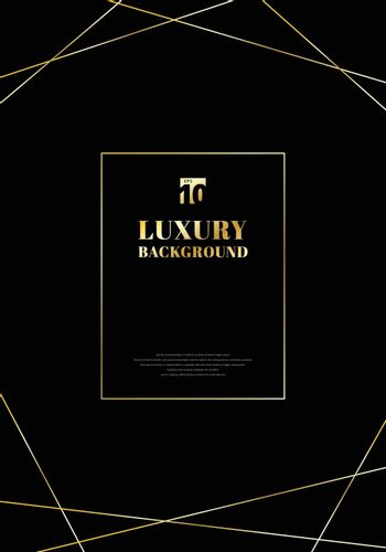Template design frame golden lines on black background. Luxury elegant trendy art deco style. You can use for wedding Invitation cards, packaging, banner, card, flyer, invitation, party, print advertising. etc, Vector illustration