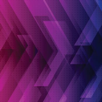 Abstract blue, purple and pink tech background with big arrows sign digital and stripes technology concept. Space for your text. Vector illustration