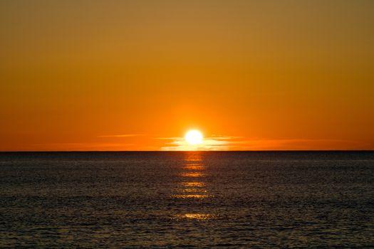 Nice sunrise on the Mediterranean Sea in the village of Burriana