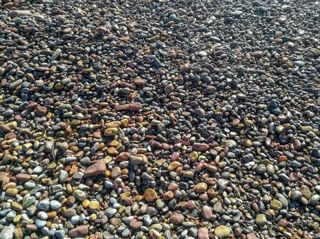 Rounded stones on the beach of different colors