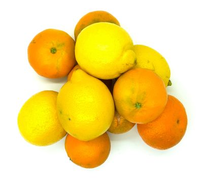 Orange and lemons in composition on white background